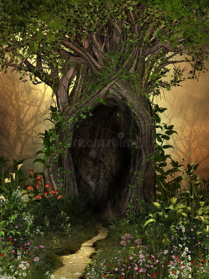 Magischer Baum mit einer Höhle gestaltet durch Blumen stockbild