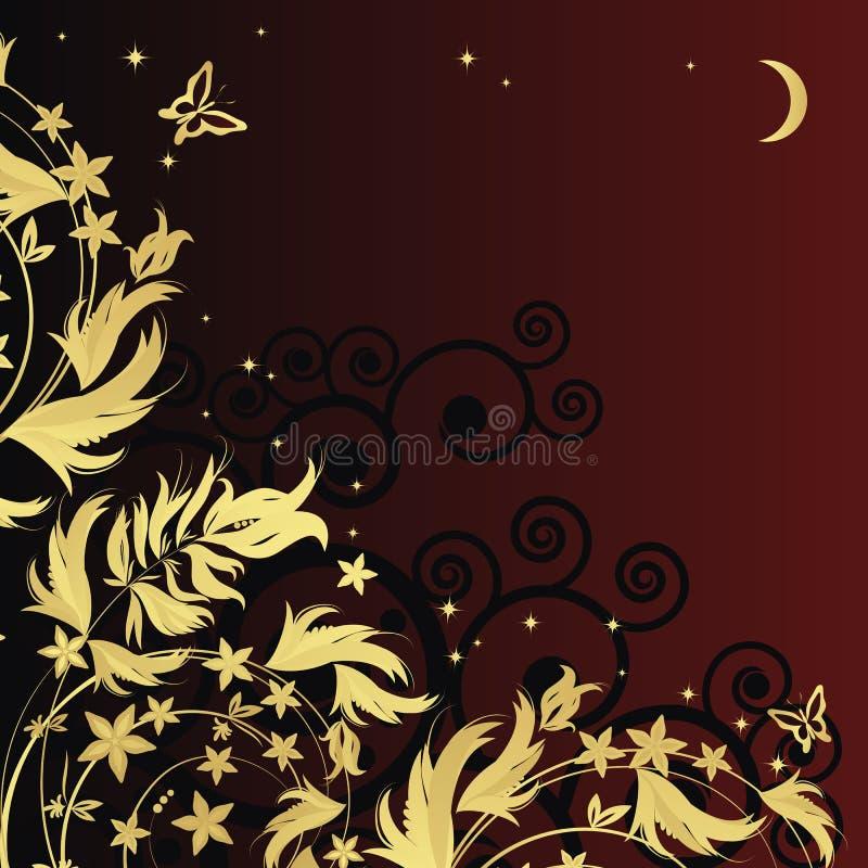 Magischer Blumenhintergrund mit goldenen curles stock abbildung