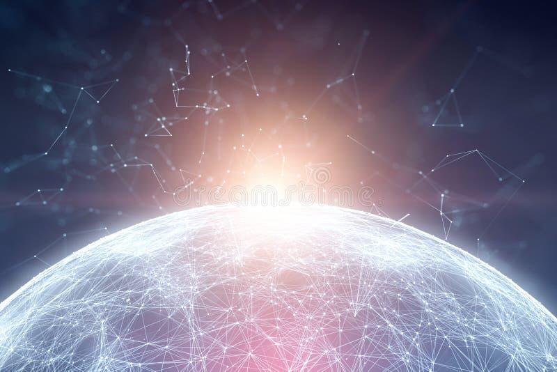Magischer futuristischer Planet mit Linien Punkte und Sonnenlicht lizenzfreies stockbild