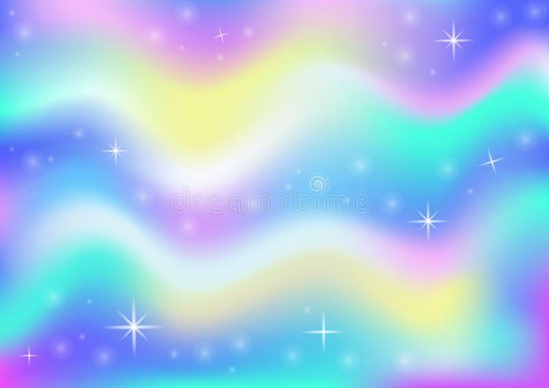 Magischer Glühenhintergrund des feenhaften Raumes mit Regenbogenmasche Mehrfarbenuniversumfahne in Prinzessinfarben Fantasiesteig stock abbildung