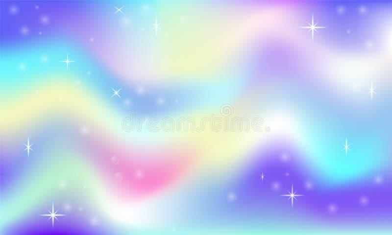 Magischer Glühenhintergrund des feenhaften Raumes mit Regenbogenmasche Mehrfarbenuniversumraumfahne in Prinzessinfarben Rosa Stei lizenzfreie abbildung