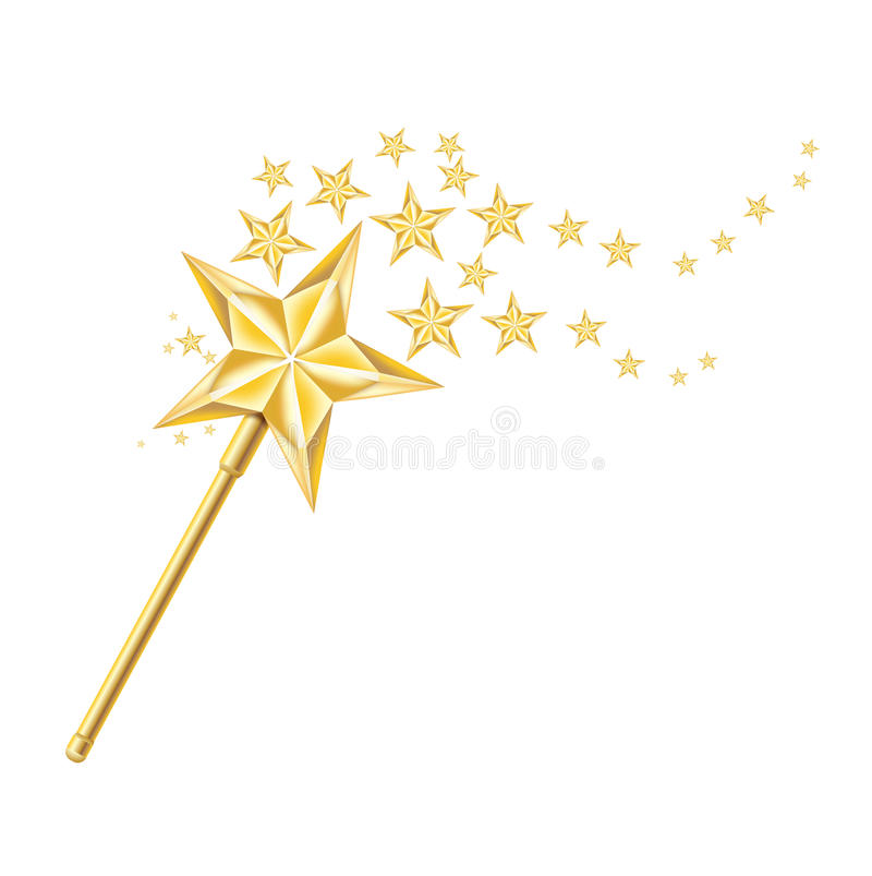 Magischer goldener Stab mit Spuren von Sternen auf Weiß vektor abbildung