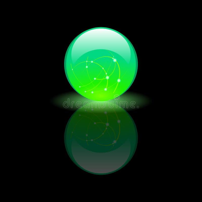 Magischer grüner Glasball auf schwarzem Hintergrund stock abbildung