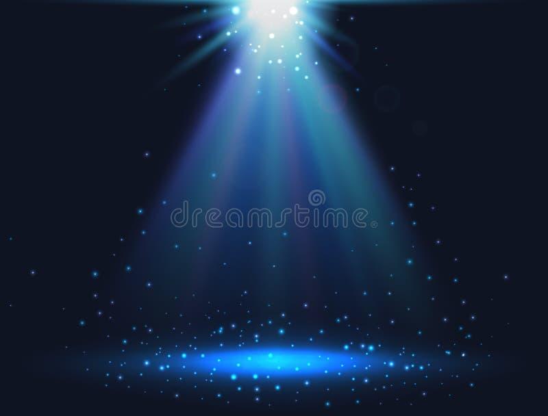 Magischer heller Hintergrund Blaue glänzende Leuchte Scheinstern Auch im corel abgehobenen Betrag lizenzfreie abbildung