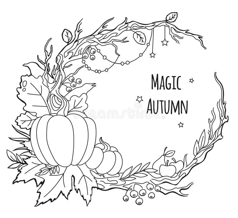 Magischer Herbstrahmen lizenzfreie abbildung