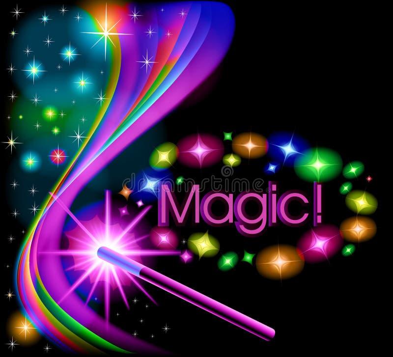magischer Hintergrund mit einem Glühen und einem magischen Stab stock abbildung
