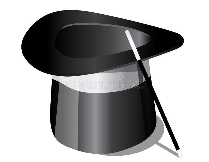Magischer Hut und Magie-Stab stock abbildung