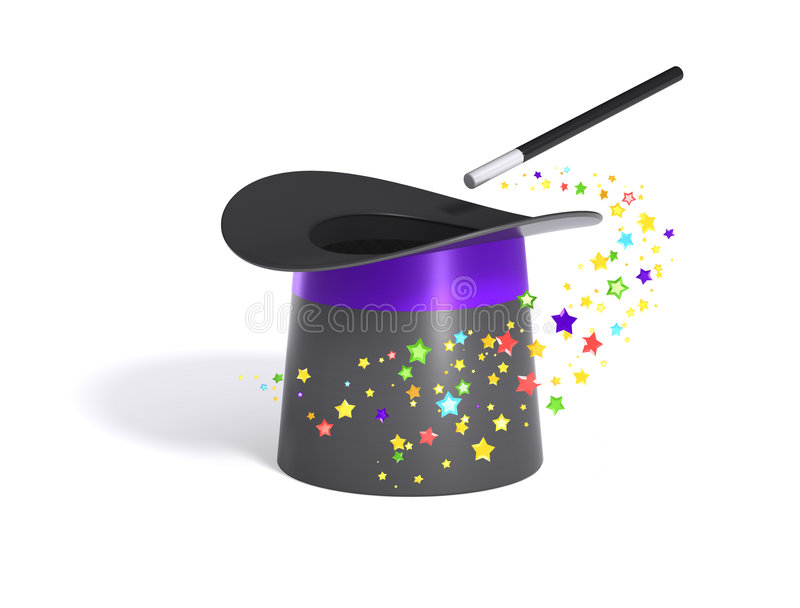 Magischer Hut und Stab mit Ausschnittspfad lizenzfreie abbildung