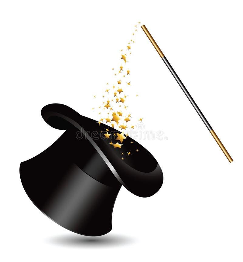 Magischer Hut und Stab mit Scheinen. Vektor