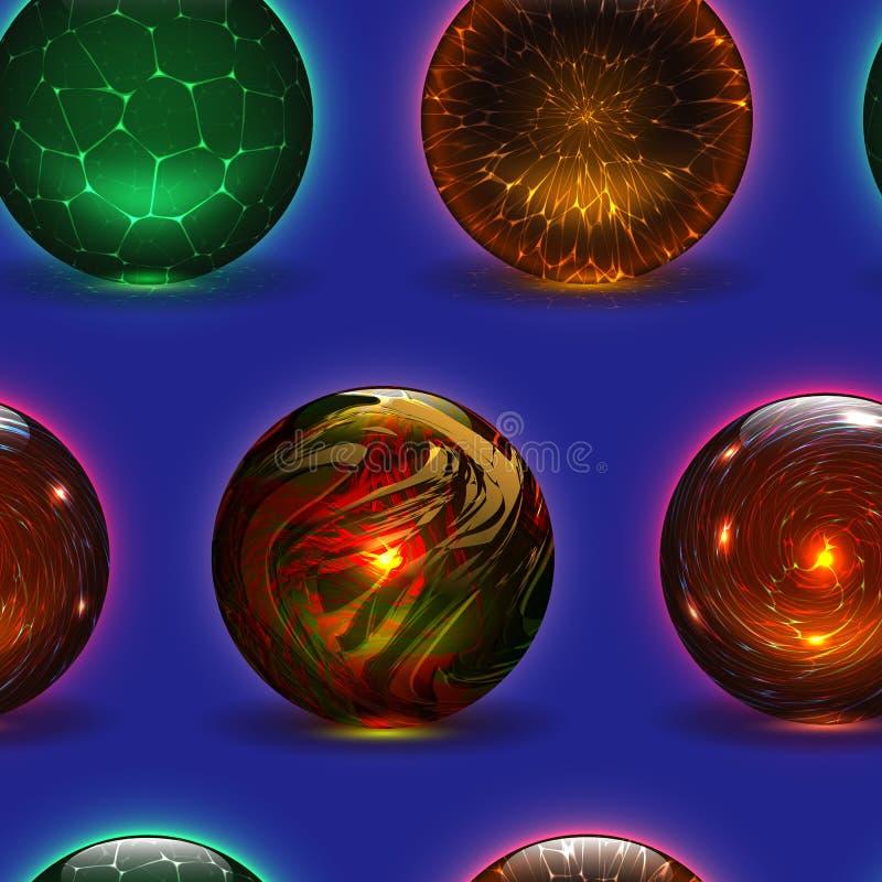 Magischer Kristallglasbereich des magischen Ballvektors und transparente Kugel des gl?nzenden Blitzes als Vorhersagenwahrsagerill vektor abbildung