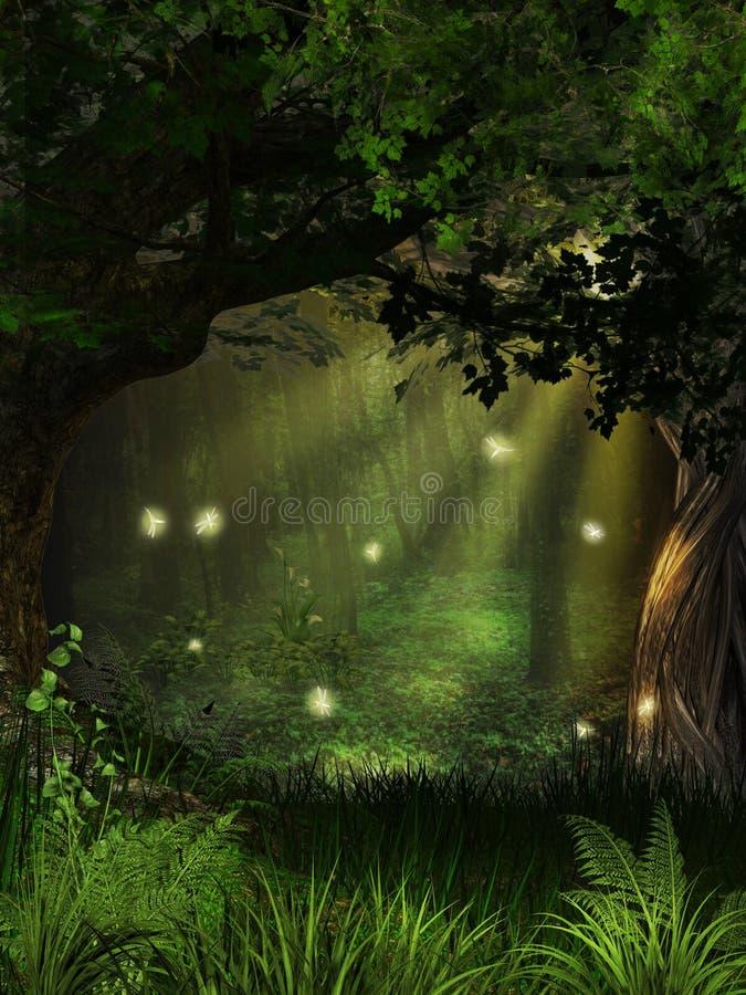 Magischer Leuchtkäfer-Wald stockbilder