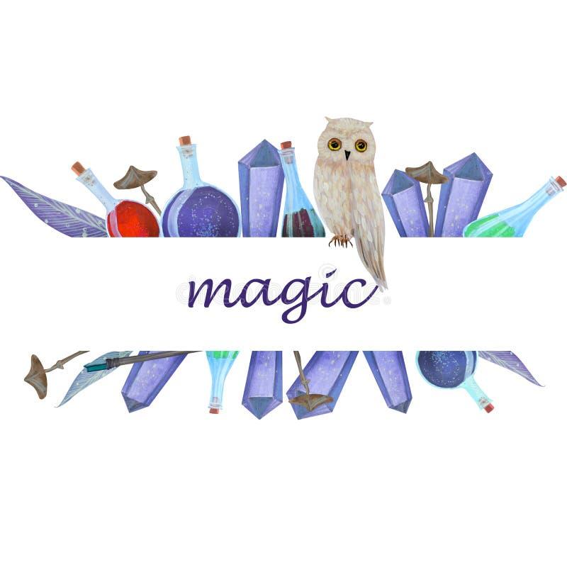 Magischer Logorahmen mit Eule vektor abbildung