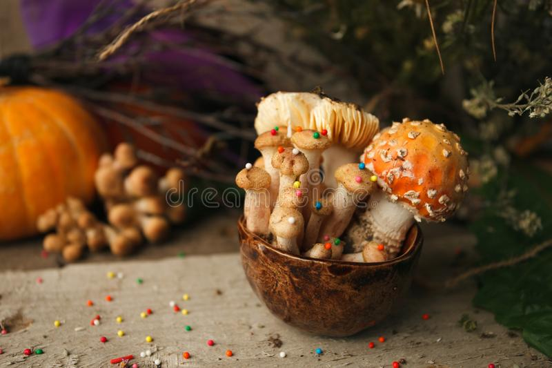 Magischer Märchenpartei-Tabellendekor, Pilz mit Süßigkeiten in der Schale auf hölzernem Hintergrund, vergiften giftiges Lebensmit stockfotos