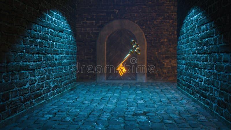 magischer mittelalterlicher Schlüssel 3d übertragen stockbild