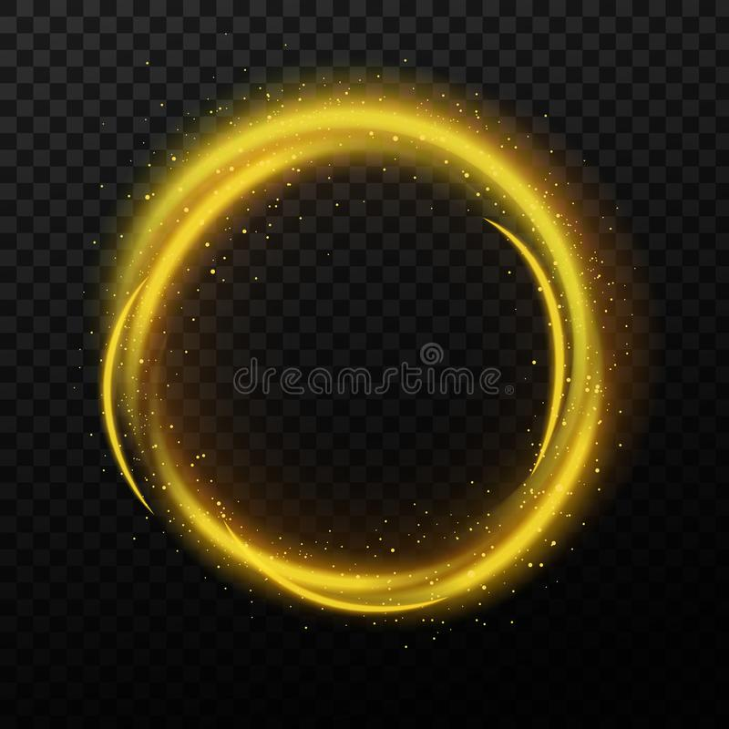 Magischer Scheinkreis und glänzendes stardust goldene kosmische funkelnde Fahne mit den glühenden Partikeln eingestellt Rundes he lizenzfreie abbildung