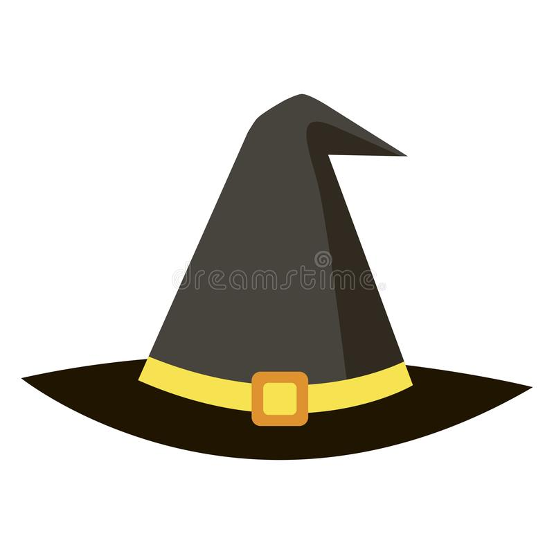 Magischer schwarzer Hut der Halloween-Ikonenhexe auf Weiß lizenzfreie abbildung