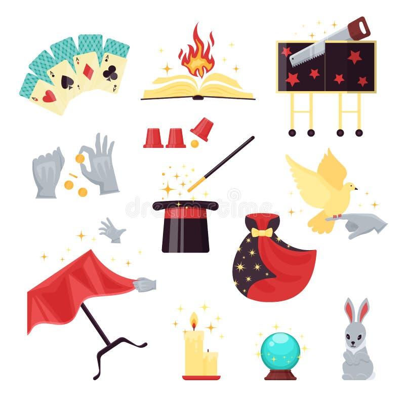 Magischer Showelementsatz mit Spielkarten, brennendes Buch, Hut, Stock, Taube, Kerze, Kaninchen lokalisiert auf weißem Hintergrun stock abbildung