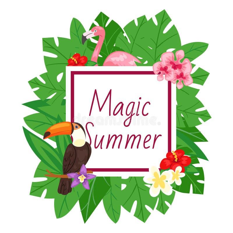 Magischer Sommerhintergrund Strandentwurf, Dschungelfahnen-Vektorillustration Rosa Flamingo und tropische Palmeblätter vektor abbildung