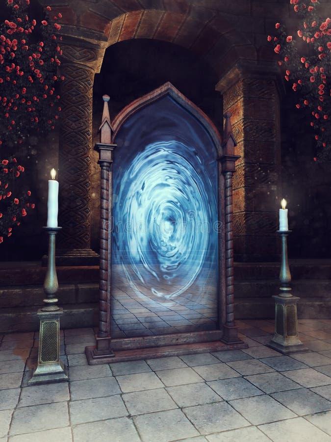 Magischer Spiegel und Kerzen lizenzfreie abbildung