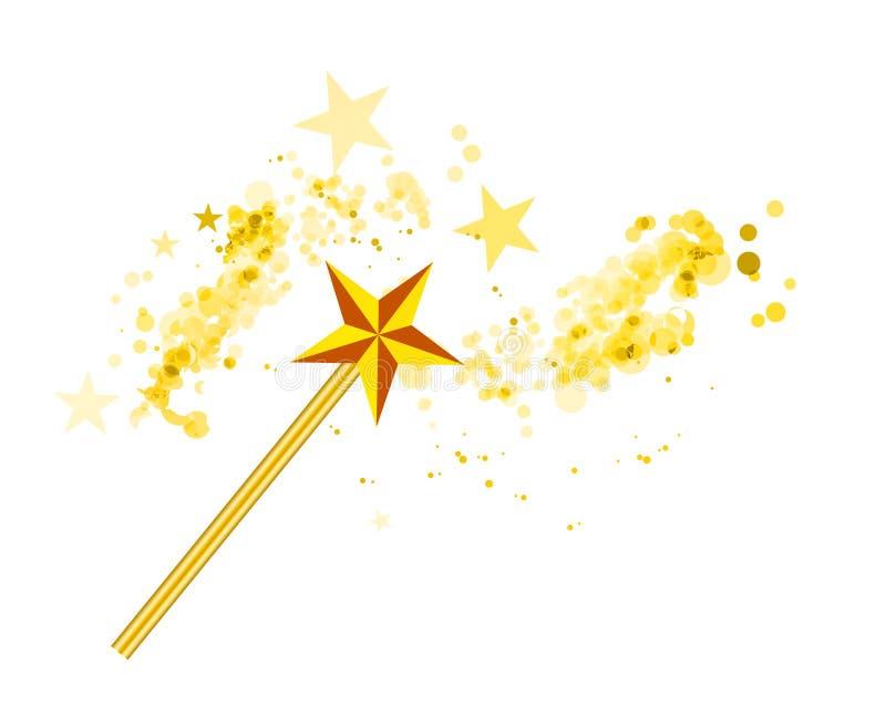 Magischer Stab mit magischen Sternen auf Weiß stock abbildung