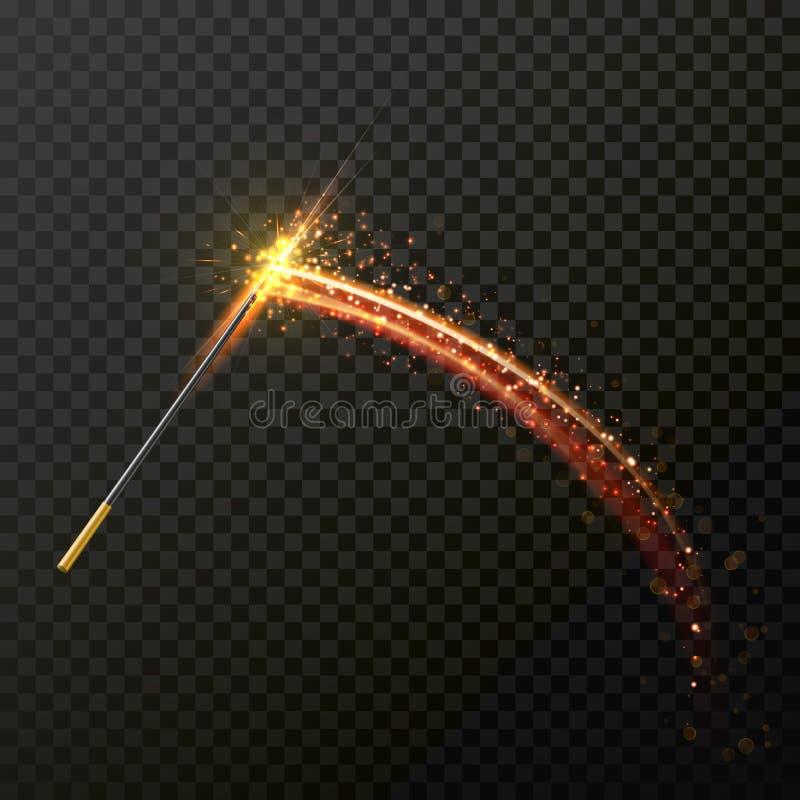 Magischer Stab mit magischer Scheinfunkelnlichthinterspur stock abbildung