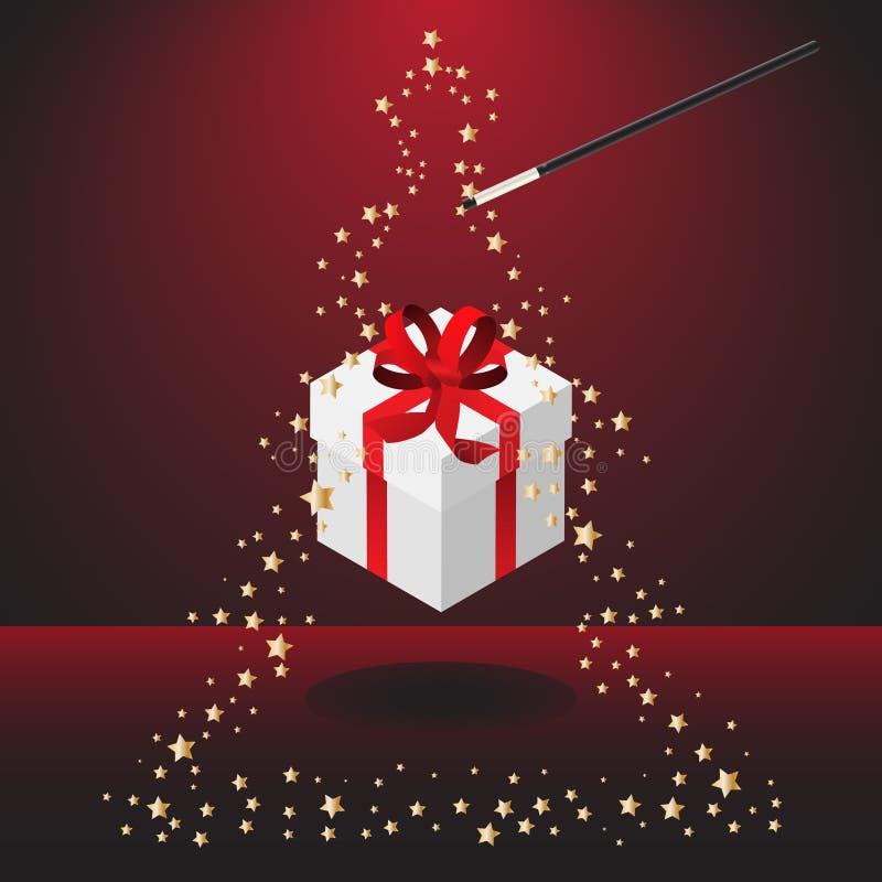 Magischer Stab mit Weihnachtsgeschenk vektor abbildung