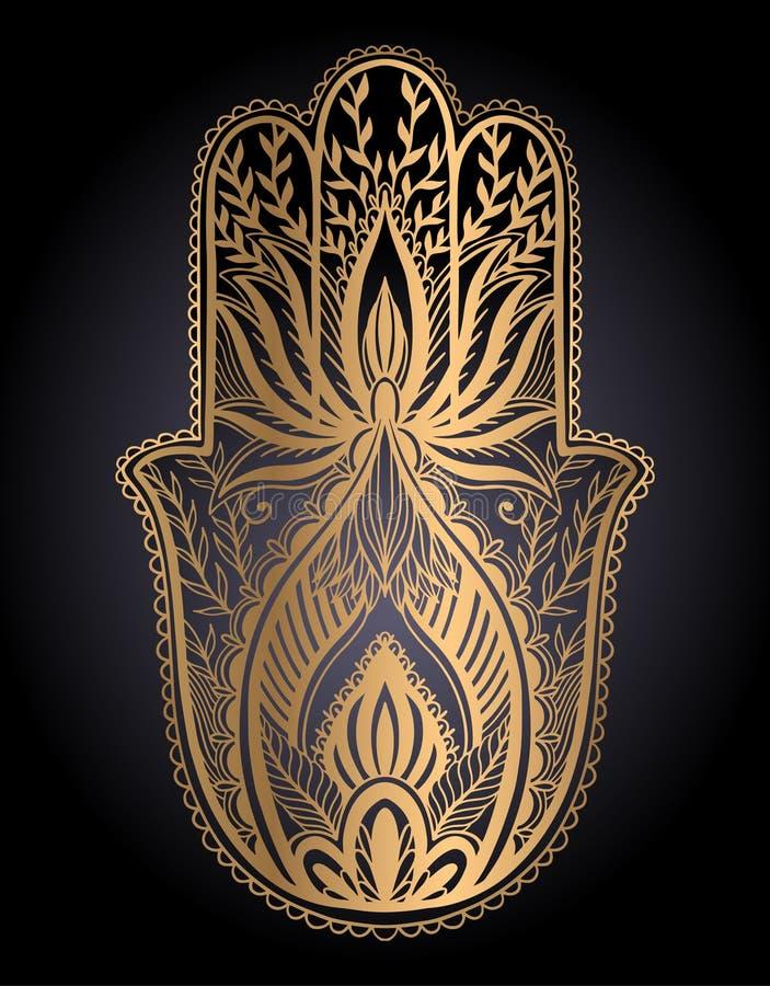 Magischer Talisman hamsa Religion Asiat Goldfarbgraphik im schwarzen Hintergrund   vektor abbildung