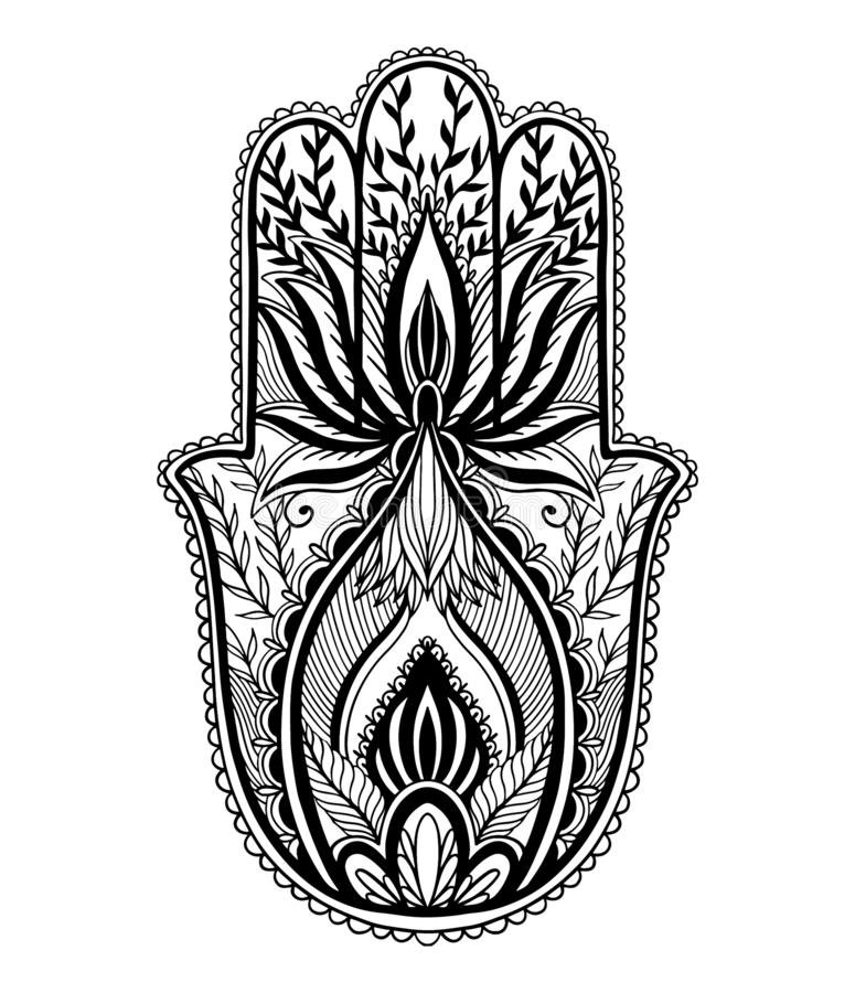 Magischer Talisman hamsa Religion Asiat r   vektor abbildung