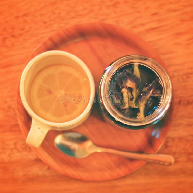 Magischer Tee mit Zitrone stockfotos