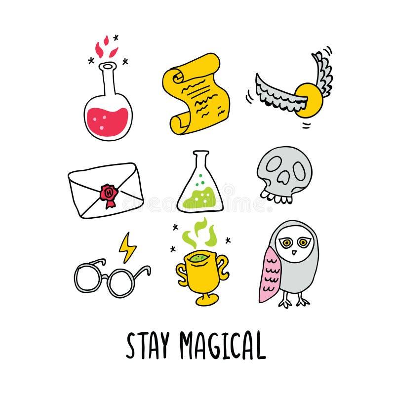 Magischer Vektor eingestellt - Trank, Buchstabe, Gläser, Schädel vektor abbildung