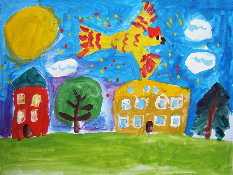 Magischer Vogel - gemalt vom Kind stock abbildung