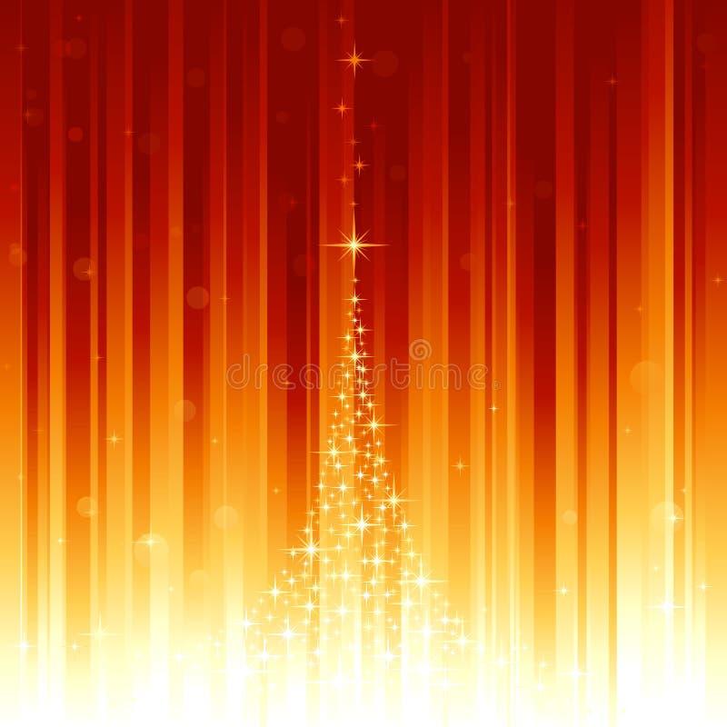 Magischer Weihnachtsbaum und defocused Lichtpunkte auf v vektor abbildung