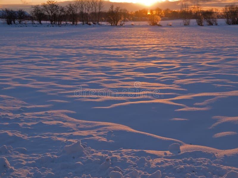 Magischer Wintersonnenuntergang im Schnee stockfoto