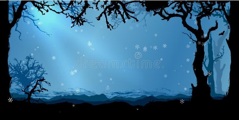Magischer Winterwaldvektorhintergrund lizenzfreie abbildung