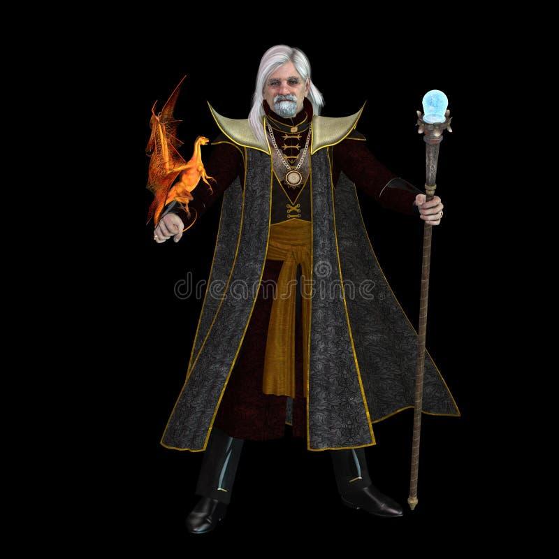 Magischer Zauberer auf Schwarzem lizenzfreie abbildung