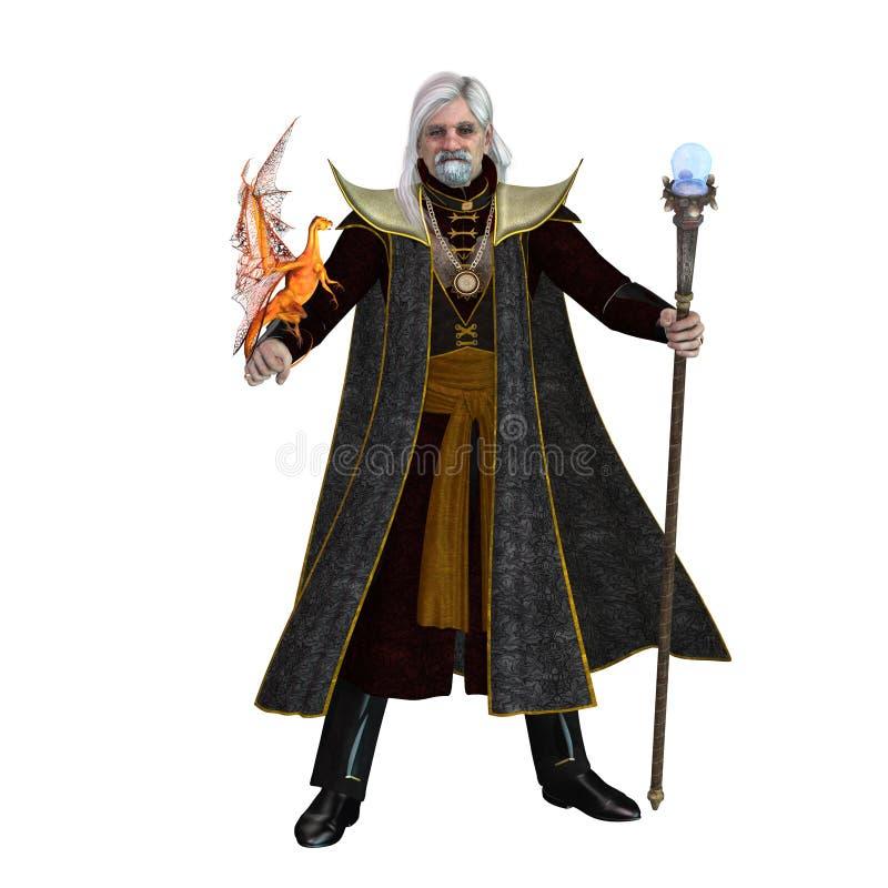 Magischer Zauberer auf Weiß lizenzfreie abbildung