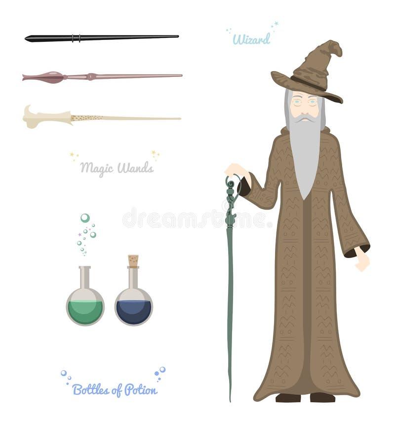 Magischer Zauberer mit den Steinen und Sachen magisch, Glaskugel, Stäbe, hatvector Illustration lizenzfreie abbildung