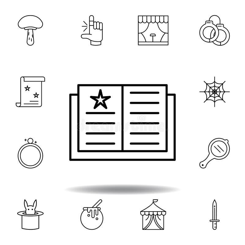 Magisches Buch, magische Ausbildungsentwurfsikone Elemente der magischen Illustrationslinie Ikone Zeichen, Symbole können für Net vektor abbildung