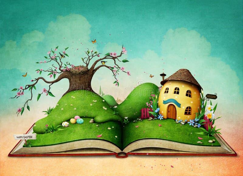 Magisches Buch mit Osterei-Haus vektor abbildung