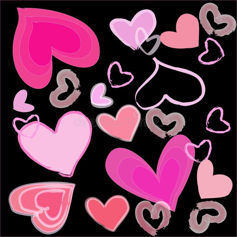 Magisches buntes Herz auf einem schwarzen Hintergrund stock abbildung