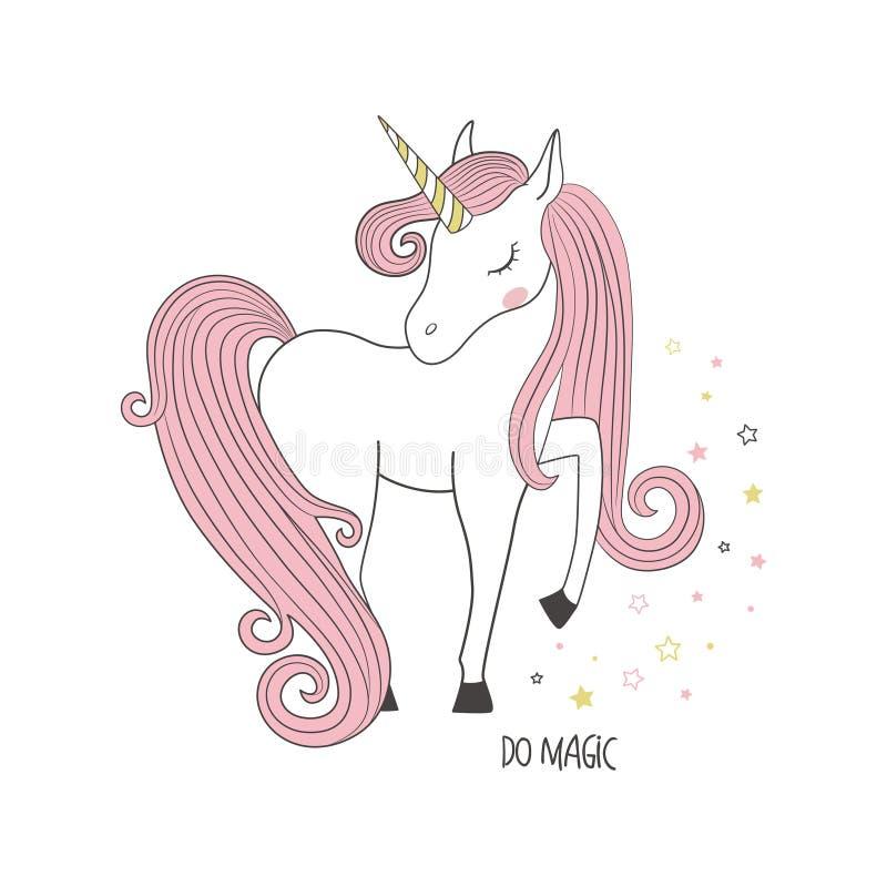 Magisches Einhorn Scherzt Illustration für Kleidung stock abbildung