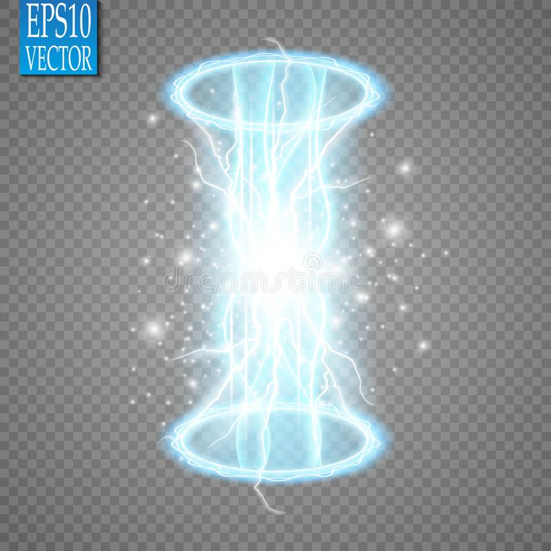 Magisches Fantasieportal Futuristisch teleportieren Sie Lichteffekt Blaue Kerzen Strahlen einer Nachtszene mit Funken auf einem t stock abbildung