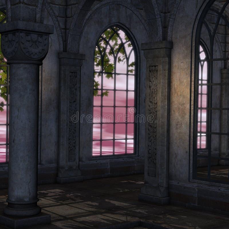 Magisches Fenster in einer Fantasieeinstellung lizenzfreie abbildung