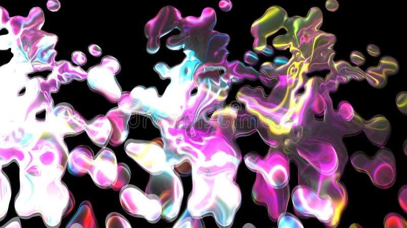 Magisches glänzendes helles wasser- viele Tropfen, Hintergrund der Wiedergabe 3d, Computer, der Hintergrund erzeugt stock abbildung