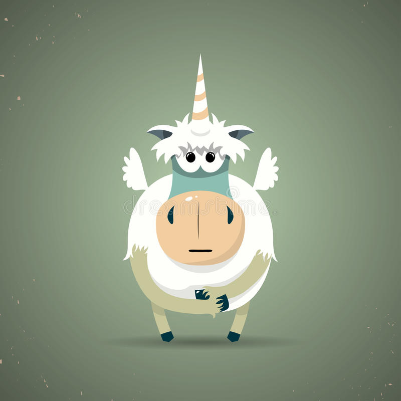 Magisches kleines mythisches Einhorn mit einem gewundenen Horn lizenzfreie abbildung