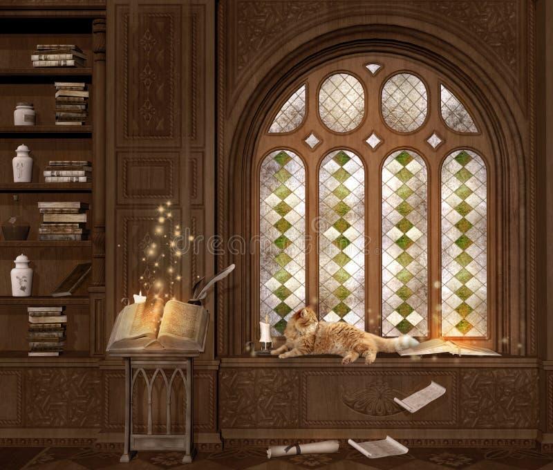 Magisches Lesepult und eine rote Katze lizenzfreie abbildung