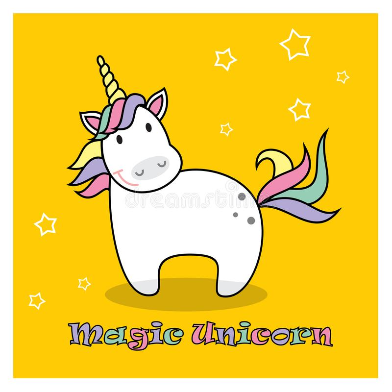 Magisches nettes Einhornplakat, Grußkarte, Vektorillustration Nettes Tier der netten magischen Karikaturphantasie Regenbogenhaar  vektor abbildung