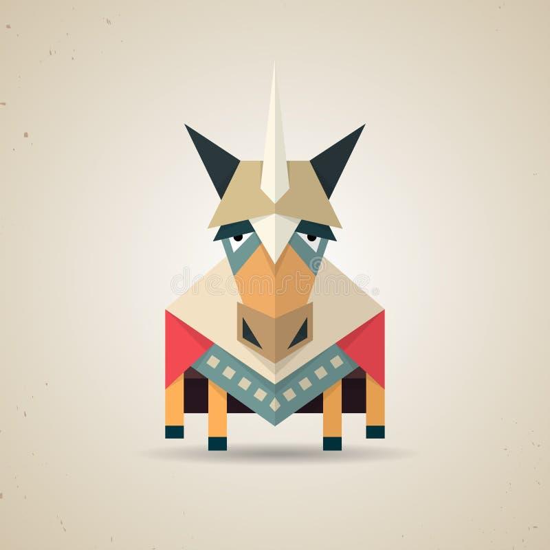 Magisches nettes Origamieinhorn von gefaltetem Papier stock abbildung