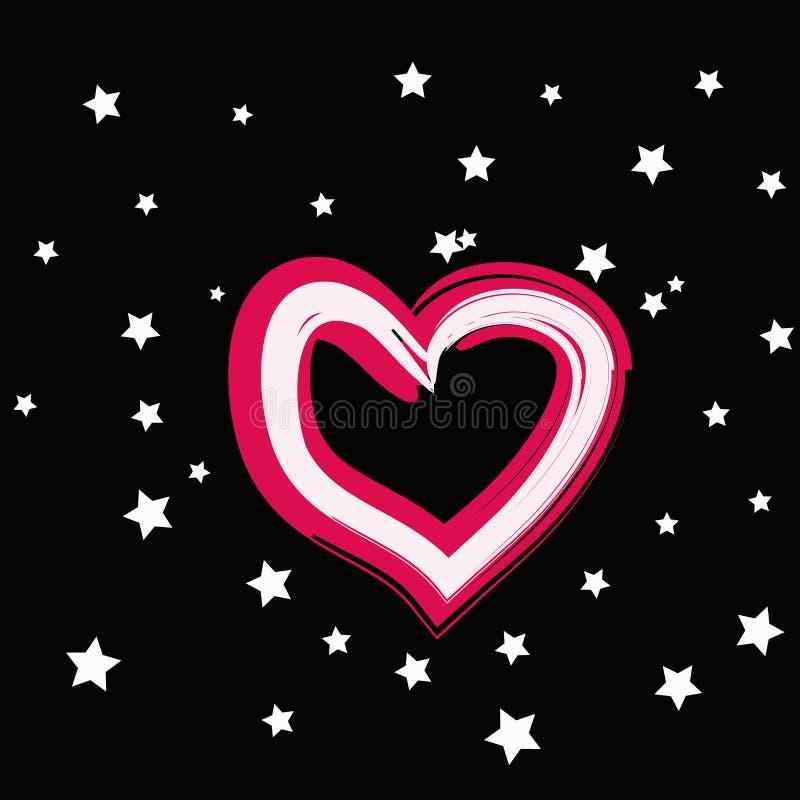 Magisches rosa Herz mit weißem Stern auf einem schwarzen Hintergrund vektor abbildung