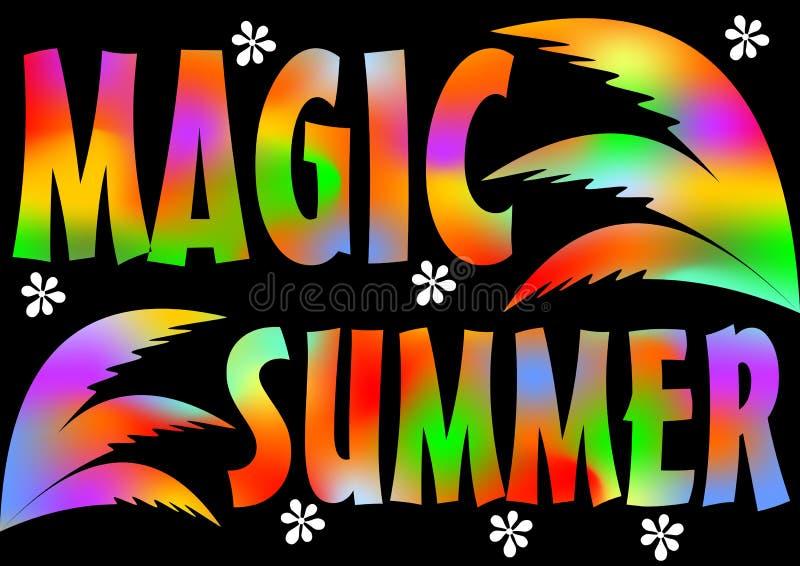 Magisches Sommer-Strandfest Magische Sommerferien und -reise Bunter Hintergrund des klaren Plakats mit Palmblättern Musik lizenzfreie abbildung